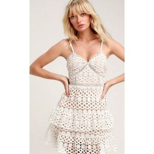 Lulu's White and Nude Crochet Lace Mini Dress